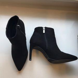 NIB black suede stiletto booties